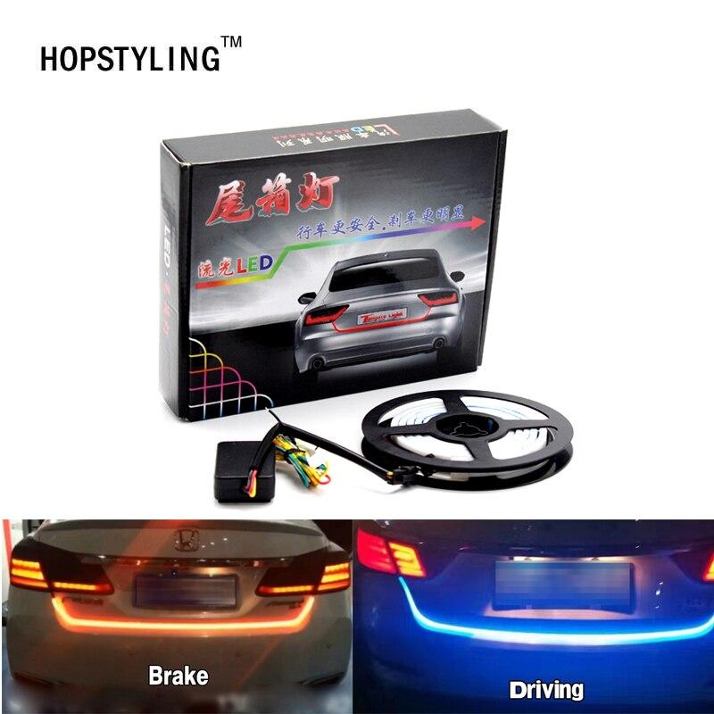 120CM Flexible LED Car Truck Tailgate Light Bar Red and Yellow 12V 192 LED Running/Brake/Reverse/Signal/Rear Strip Light Lamp