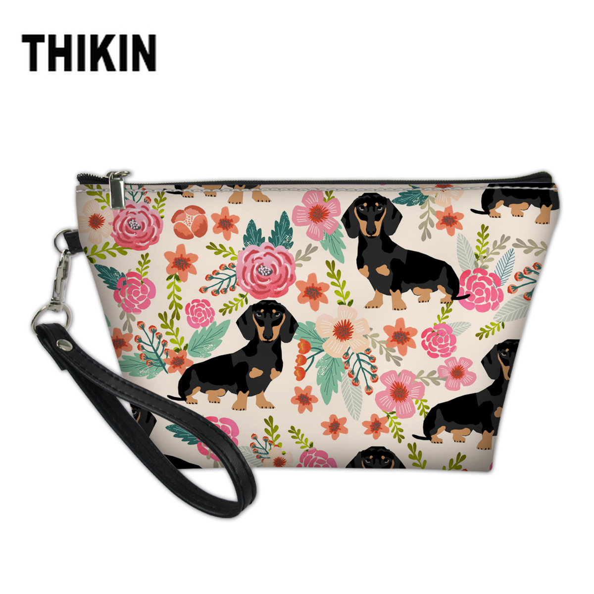 THIKIN Gardon Floral Dachshund Makeup Bag Cosmetic Cases Cute Sausage Dog Women Travel Beauty Organizer Cosmetic Storage Box