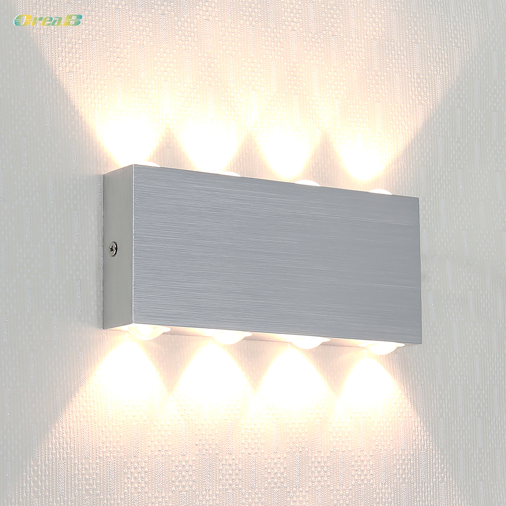 8W Silver Color Decorative Indoor Wall Mounted Led Wall Light Lamps Fixtures For Bedroom With 8pcs