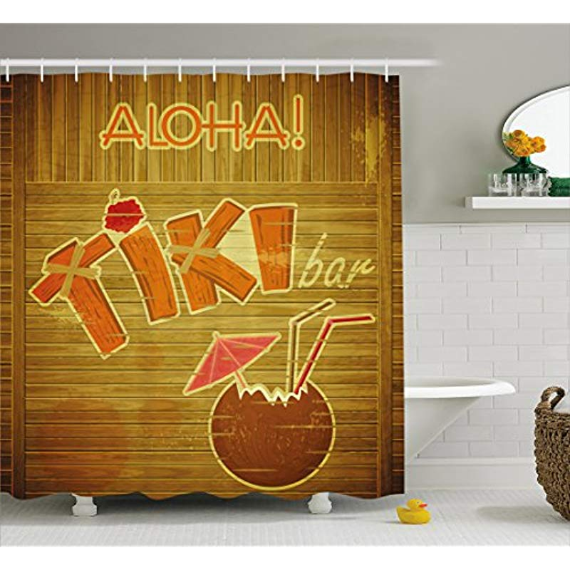 Vixm Tiki Bar Decor Shower Curtain Wooden Planks Wall With