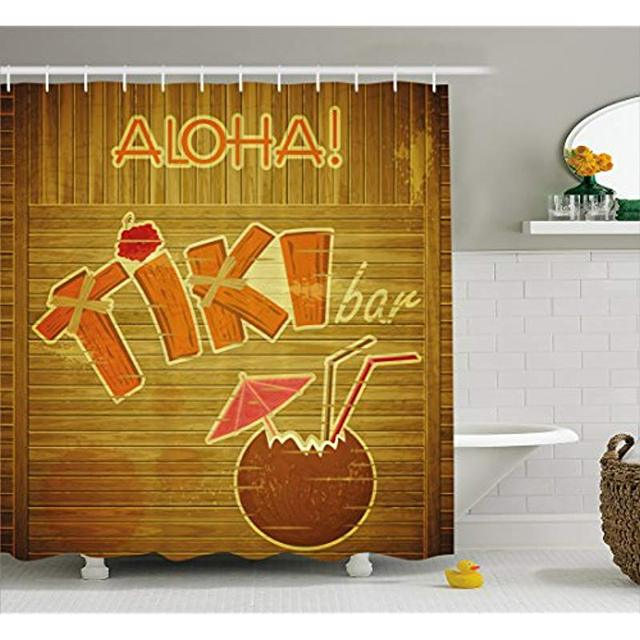 Vixm Tiki Bar Decor Shower Curtain Wooden Planks Wall With Styled Text Tail Hibiscus