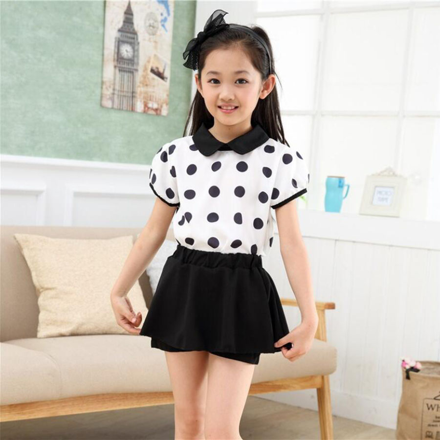 Girls tops kids sets children summer Chiffon tops+shorts soft Tee+trousers 3-11 Y children outwear baby sweat clothing sets
