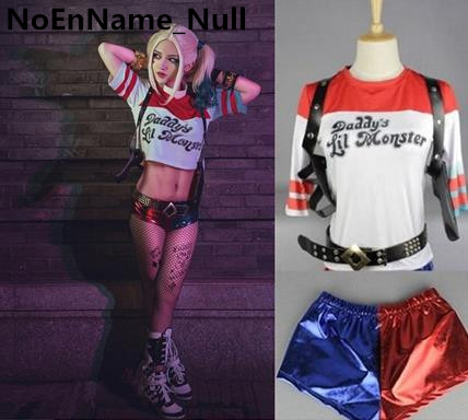 Movie Suicide Squad Harley Quinn T-Shirt Or Shorts Cosplay Costume Set