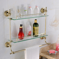Antique Europe Gold Bathroom Shelves Solid Brass Bathroom Cosmetics Shelf Carved Bathroom Product Shelf 2 Layers Glass Shelf