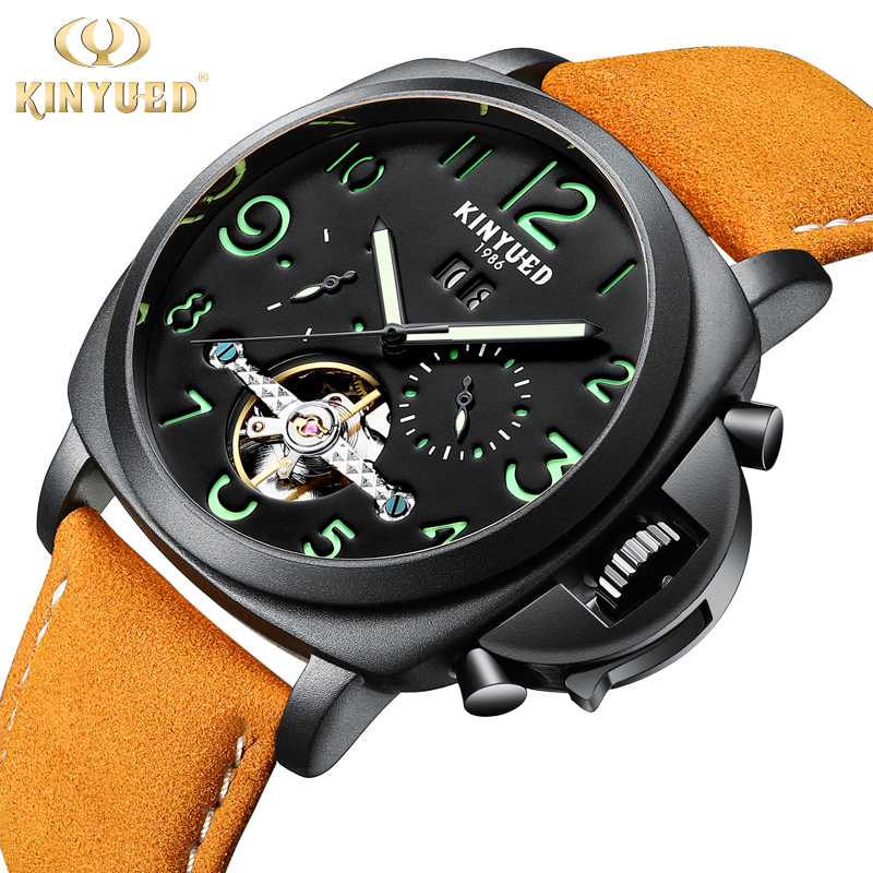 Kinyued Black Mechanical Watch Men Leather Band Automatic Luminous Hand Watches Skeleton Sapphire Tourbillon Male Wristwatches forsining brand trendy automatic mechanical watches men skeleton dial stylish dress wristwatches with leather band