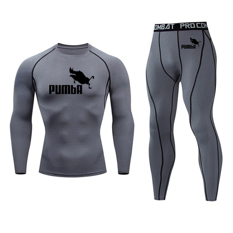 2019 Men's Sportswear Man Running Tights Clothing Rashgard Male Compression Gym Clothing Running T-shirt MMA Clothing Kit