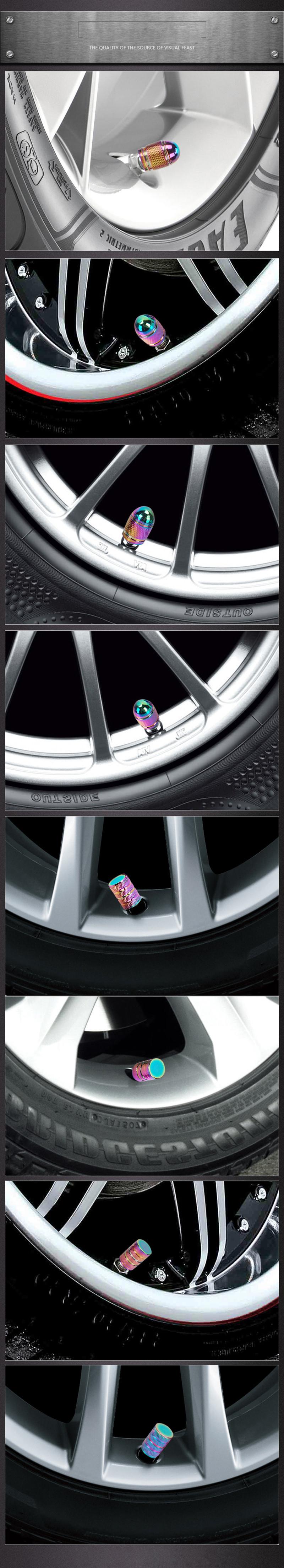 AllRing Alloy Auto Valve Caps Tappi antipolvere per valvola pneumatico auto con portachiavi Mercedes