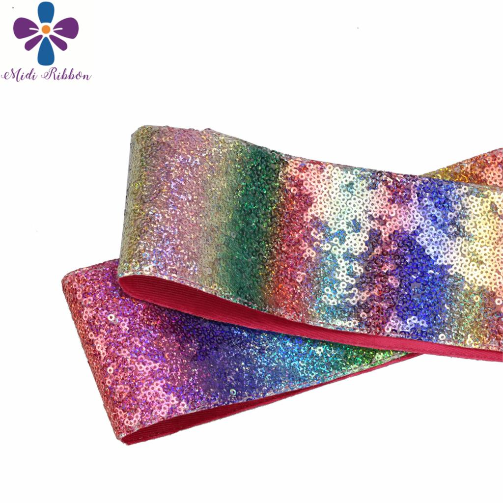 3 75mm Shiny Glitter Cutting Ribbon 25yards roll Gradient Rainbow Color DIY Wedding Dress Decor Hair