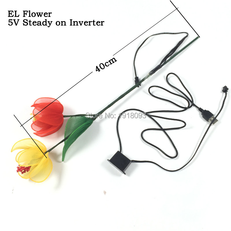 Newest 10 Style available Colorful EL Wire Glowing Flower Cold Lights Novelty Lighting Lighting Flower Event Party Gifts