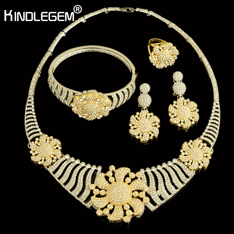 Kindlegem 2018 Luxury Sparkling Full Rhinestone Zircon Necklace Earrings Bracelet Ring Women Gold Silver Color Jewelry Set a suit of stylish faux sapphire rhinestone necklace bracelet earrings and ring for women