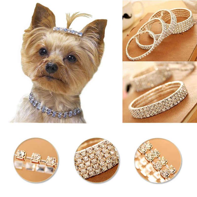 1ピースミニペット猫犬クリスタルラインストーンチョーカー首輪ファンシーチワワストレッチ犬ネックレスハーネス