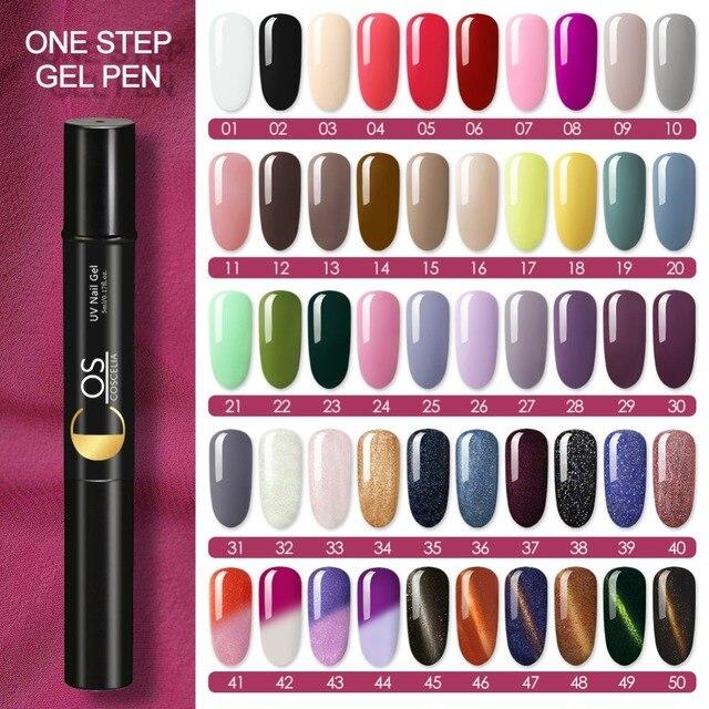 COSCELIA 3 ב 1 אחד צעד ציפורניים ג 'ל פולני עט UV LED ג' ל עט לכה אמנות מניקור משרים Off ג 'ל פולני