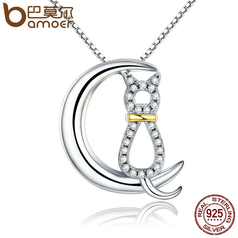 BAMOER Hot Sale Authentic 925 Sterling Silver Fashion Moon Cat Women Necklaces Clear CZ Luxury Sterling Silver Jewelry SCN122