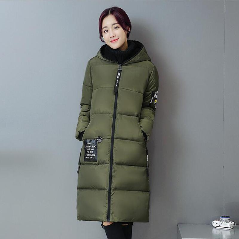 Plus Size 3XL 2016 New Fashion Winter Temperament Patchwork Hooded Long sleeve Thicken Long Coat Down