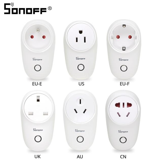 Sonoff básicos Sonoff S26 inalámbrica WiFi inteligente del zócalo CN/es/EU/UK/nos enchufe inteligente casa los enchufes de alimentación del interruptor funcionan con Alexa Google