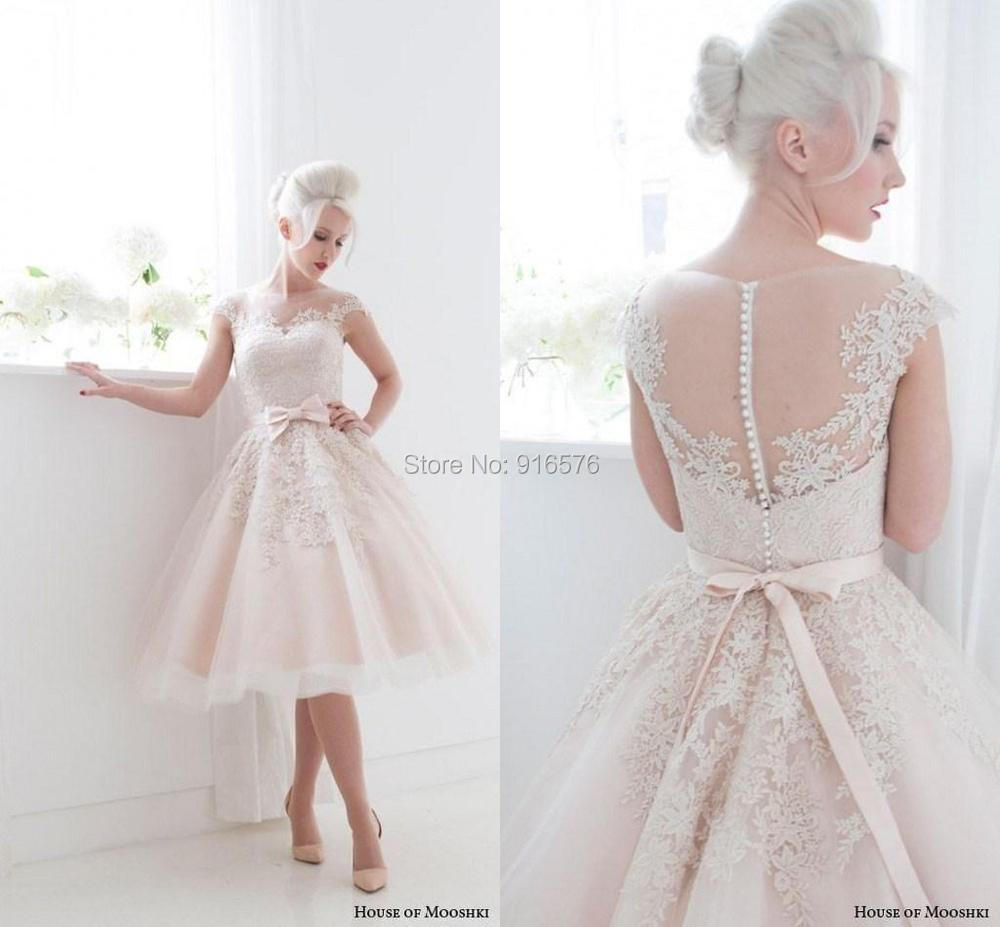 New Arrival 2015 Wedding Dresses Sheer Pink Bow Front Lace Appliques ...