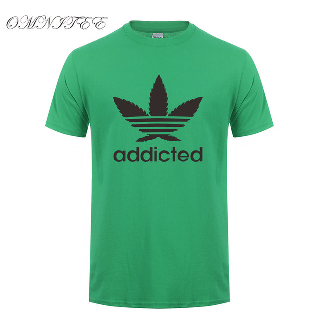 New Addicted White Leaf T Shirt Men Summer Fashion Short Sleeve Cotton Weed Day T Shirts O-neck Funny Mens T-shirt Tops OT-939 1