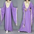 Индонезийский стиль Мусульманских Женщин Абая Платье Исламская Труба рукава Воротник Одежды Леди Суд темперамент Тяжелая вышивка Платья