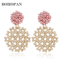 Beads Weave Drop Earrings For Women Circle Round Hollow Design Big Dangle Simple Statement Earrings Charm Jewelry brincos 2018