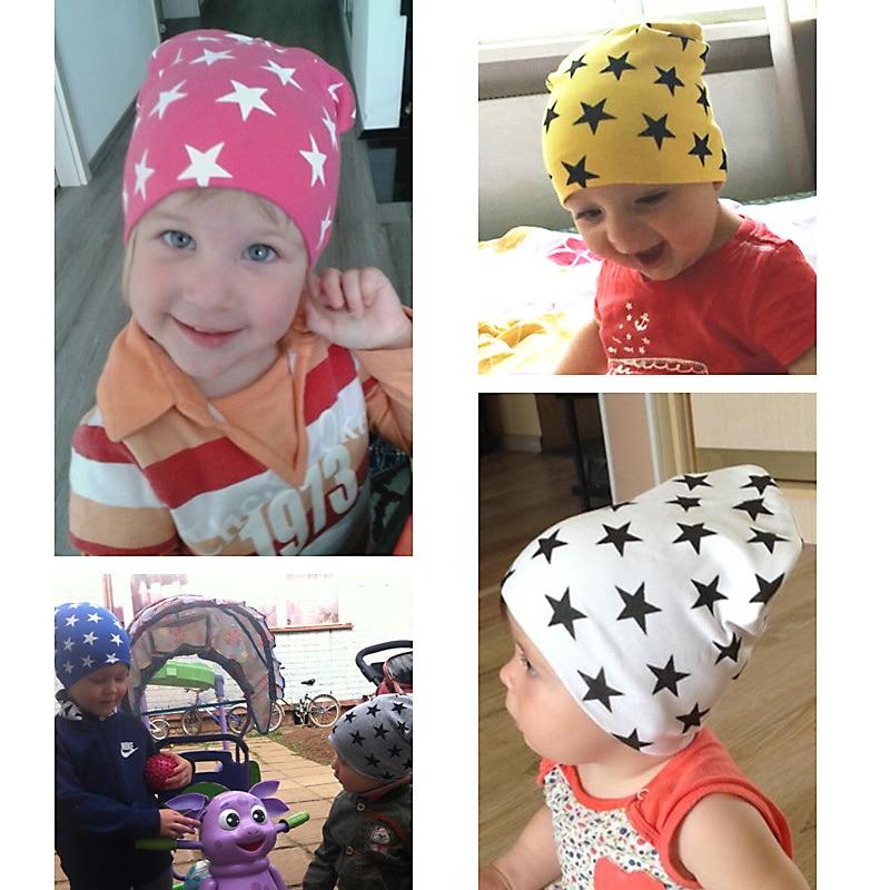 2018 Baby Hat Star Girl Boy Cap Kids Beanie Stars Hat Baby Infant Hat Cotton New Children Collar baby cap child cap