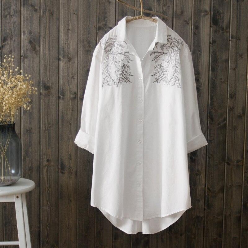 2018 Summer Female Women Tops Autumn 100% cotton White Shirt Women Long Sleeve Blouse Korean Fashion Woman Clothes Women Blouse