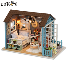 CUTEBEE Doll Home Miniature DIY Dollhouse With Furnitures Picket Home Toys For Youngsters Birthday Present Z007
