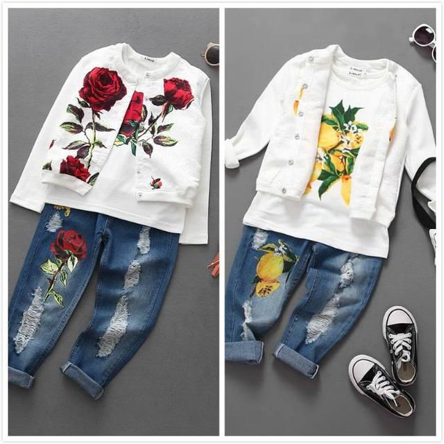 2016 otoño nueva chica establece la flor de rose lemon tres pieza de moda trajes de chaqueta + camisetas + pantalones vaqueros niños ropa tz989