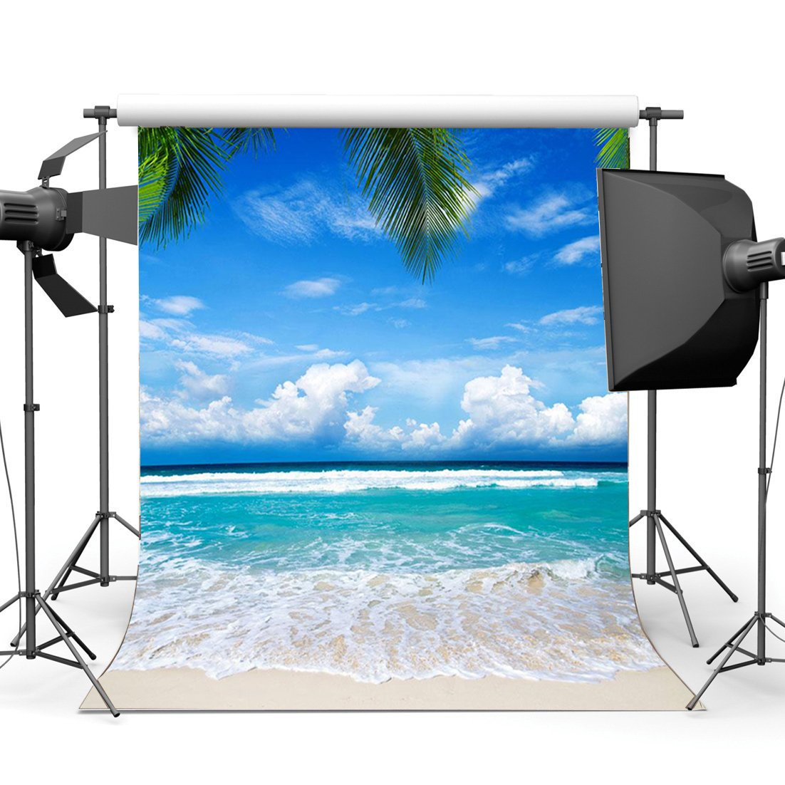 Image 1 - Seaside Sand Beach Backdrop Blue Sky White Cloud Nature Romantic Summer Holiday Journey Ocean Sailing Background-in Photo Studio Accessories from Consumer Electronics