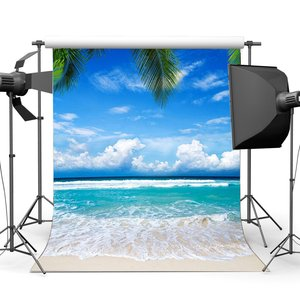 Image 1 - Seaside Sand Beach Backdrop Blue Sky White Cloud Nature Romantic Summer Holiday Journey Ocean Sailing Background