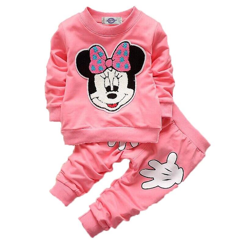 Комплект одежды для маленьких девочек, футболка с длинными рукавами и рисунком Микки и Минни Маус, комплекты с топом и штанами, детская одеж...