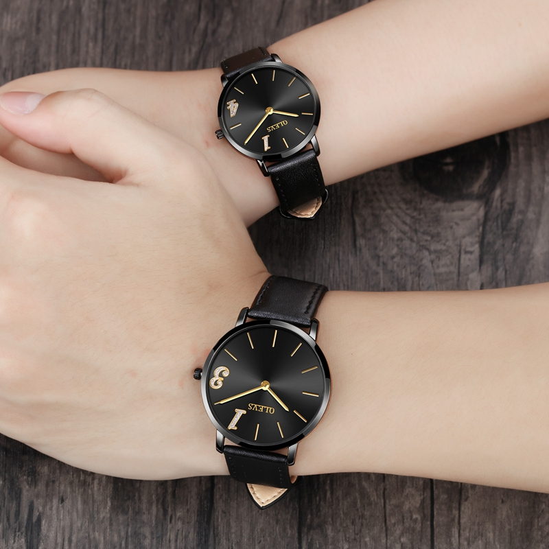OLEVS 2018 NEW Luxury Brand Couple Watches Men's Quartz Clock Women Lovers Watch Leather Ulrtathin Wrist Watch Relogio Masculino 2017 real eyki brand couple watches top luxury men s leather wrist lovers dress quartz watch waterproof relogio masculino