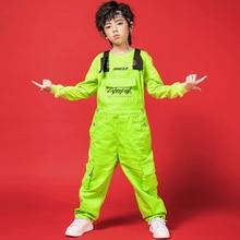 Новые детские танцевальные костюмы, неоновая зеленая одежда для мальчиков комбинезон для уличных танцев, костюм Детская танцевальная одежда в стиле хип-хоп для мальчиков, BL1933