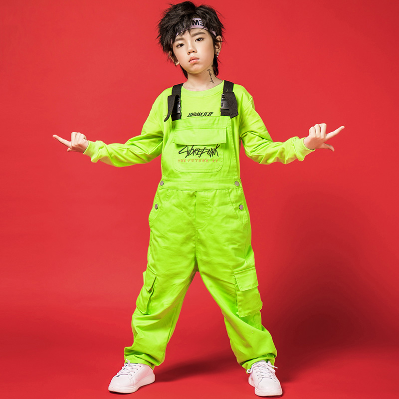 New Kids Dance Costumes Boys Neon Green Clothes Bib Pants For Street Dance Dtage Costume Children Boys Hip Hop Dance Wear BL1933
