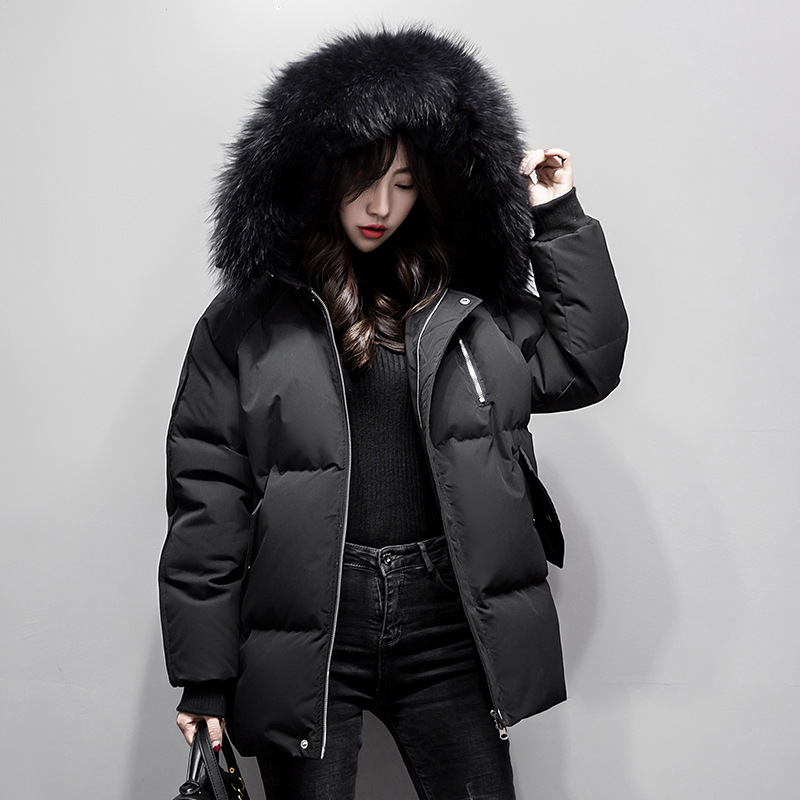 WSYORE Loose Casual Women Big Fur Collar Hooded   Down     Coat   Female 2019 New Autumn and Winter Warm Slim Duck   Down   Jacket NS1208