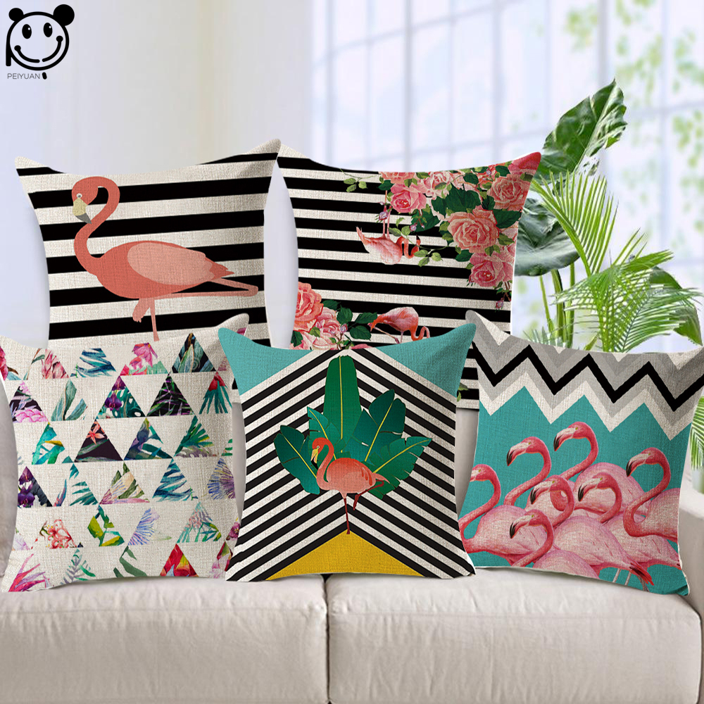 PEIYUAN Factory Custom Wholesale Linen Fabric Printed Square Cushion Cover Flamingo Black and White Stripes Pillow Case