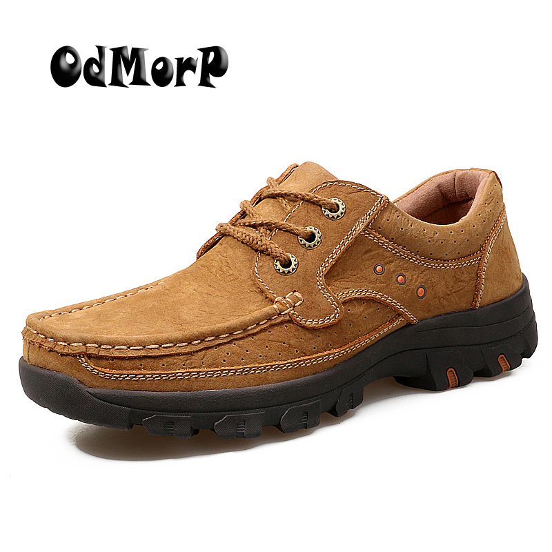 ODMORP Genuine Leather Shoes Brown Men Leather Casual Shoes Lace Up Strong Footwear High Quality Rubber
