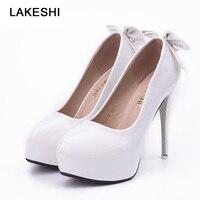 LAKESHI Women Ivory White High Heel Pumps Womans Platform Wedding Bridal Shoes Bowknot Patent Leather Brand