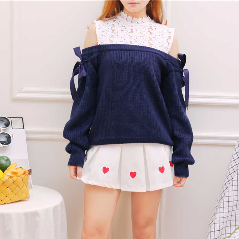 Navy blue Off shoulder Dobby Lace Knitted Wear Girl Tops Lace up Soft sister Mori girl Sweet Cute Autumn Women Sweater
