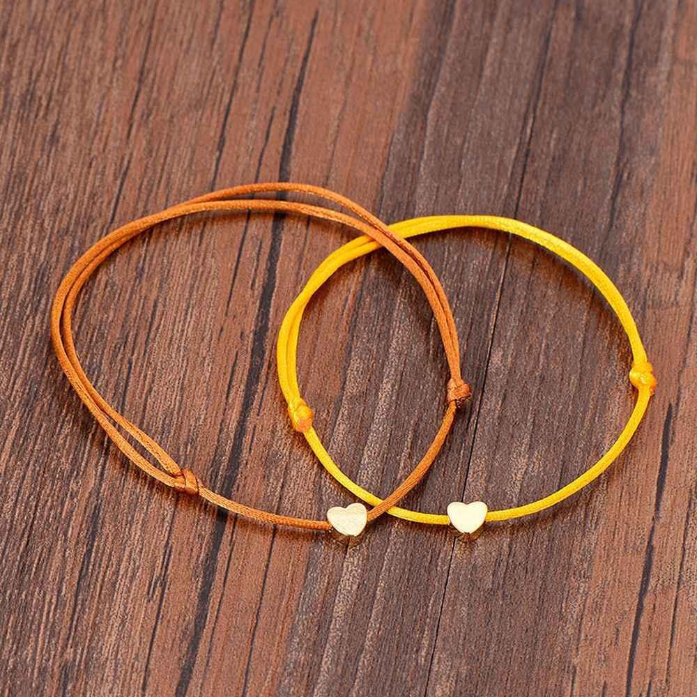 ゴールドカラーのハートブレスレットシルバー手作りジュエリー多色ロープ調節可能な文字列幸運ブレスレット女性の子供