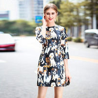 2018 Dress Women Spring Fashion Jacquard Puppy Animal Printed Round Neck Three Quarter Sleeve Slim A