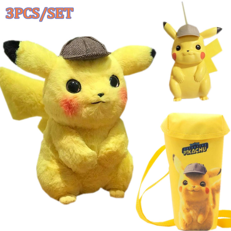 3pcs/set Detective Pikachu Plush Toy Cup Crossbody Bag Suction Cup Cute Movie Stuffed Animals Doll Birthday Gift For Children
