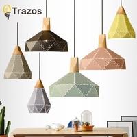 Modern LED Pendant Lights Wooden Iron Shade Hanglamp For Living Room/Restaurant/Kitchen Luminaire Ceiling Fixtures Home Lampen