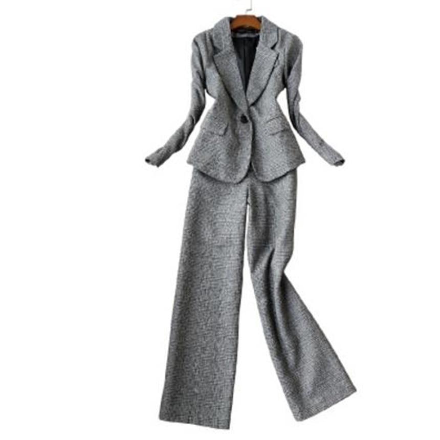 2019 Autumn Women Long Sleeved Woolen Suit Blazer Jacket + Pencil Pants Two Piece office Ladies Professional Pants Suit - 2