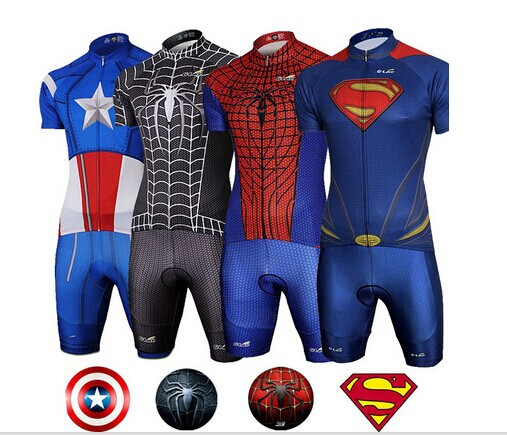Superhero Superman Spiderman Captain America Short Sleeve Cycling Jersey  bike clothing Set 12 style 44732bcb8