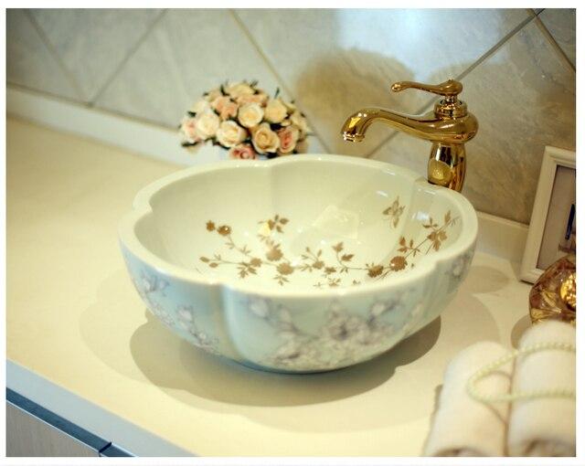 Artistic Painting Flowers Porcelain Art Countertop Washnasin Ceramic  Bathroom Vessel Sinks Vanities Hand Painted Sink Bowl