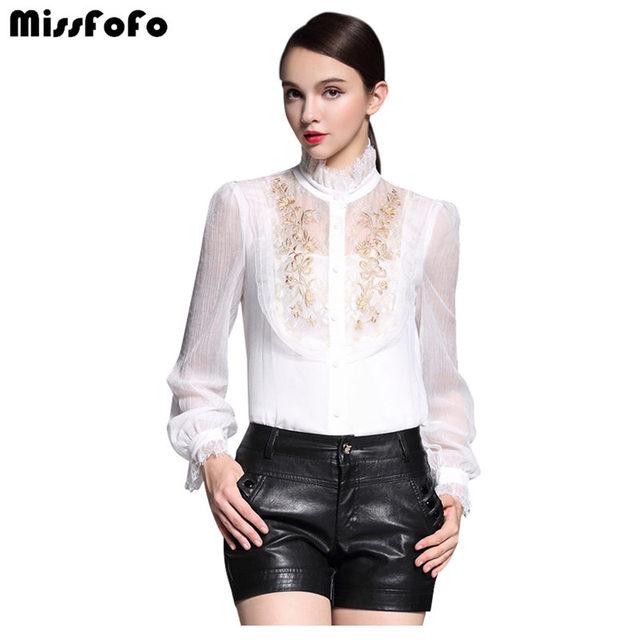 MissFoFo Одна деталь рубашка тонкая вышивка Для женщин Демисезон модная повседневная рубашка Осенняя одежда 2016 года весна выдалбливают 2XL без Underwea