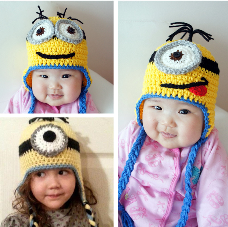 8a40f422ffd Cute Knitted Hats Despicable Me Minion Winter warm Baby Child Adult Cotton  Hat crochet Cap manual Handmade with earflap 4SIZE