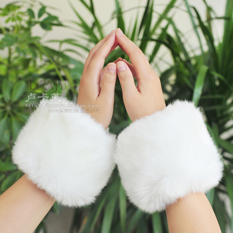 2pcs=1 Pair Cute Fashion Arm Warmers Women Autumn Winter Faux Rabbit Fur Sleeve Hairy Short Cuff Solid Candy Color