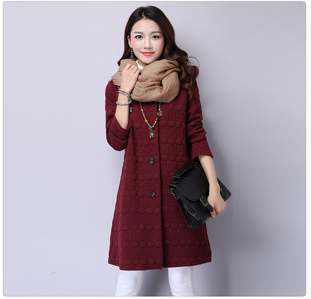 Winter Korean Brief Elegant Trench Single Breasted Full Sleeve O-Neck A-Line Wear Fashion Solid Pockets Button Outfit
