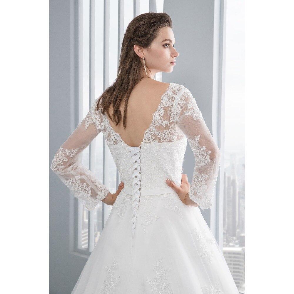 miaoduo люкс с длинным рукавом кружево приложение в нижней части спины Уэйд 2018 платье-линии платье vestido де noiva свадебные платья vestido де noiva